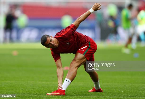 Cristiano Ronaldo of Portugal warms up prior to the FIFA Confederations Cup Russia 2017 Group A match between Portugal and Mexico at Kazan Arena on...