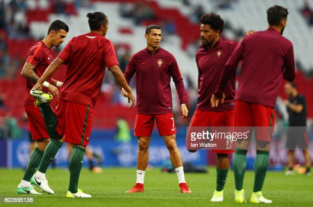 Cristiano Ronaldo of Portugal warms up prior to the FIFA Confederations Cup Russia 2017 SemiFinal between Portugal and Chile at Kazan Arena on June...