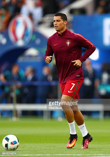Cristiano Ronaldo of Portugal warms up prior to the UEFA EURO 2016 Group F match between Portugal and Austria at Parc des Princes on June 18, 2016 in...