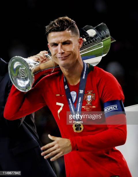 Cristiano Ronaldo of Portugal with the Nations League trophy during the UEFA Nations League final match between Portugal and The Netherlands at...