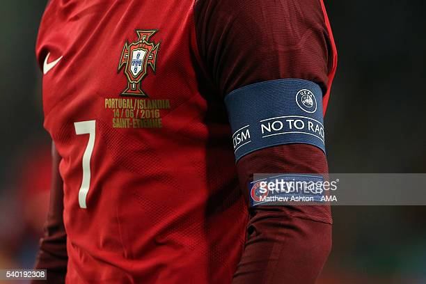 Cristiano Ronaldo of Portugal's captain's armband during the UEFA EURO 2016 Group F match between Portugal and Iceland at Stade Geoffroy-Guichard on...