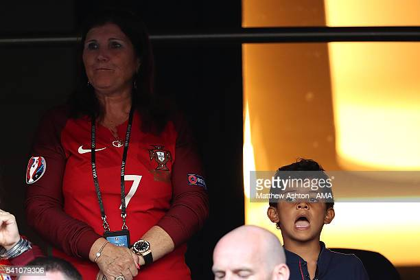 Cristiano Ronaldo of Portugal's son Cristiano Jnr and Mother Dolores look on prior to the UEFA EURO 2016 Group F match between Portugal and Austria...