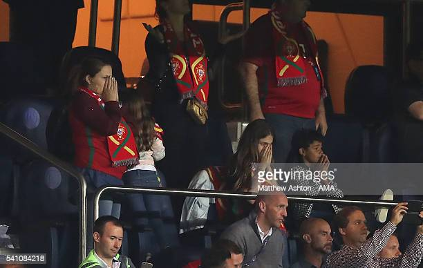 Cristiano Ronaldo of Portugal's son Cristiano Jnr and Mother Dolores react after he missed a penalty kick during the UEFA EURO 2016 Group F match...