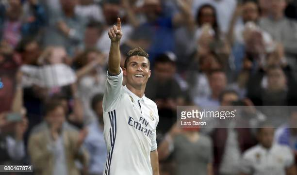 Cristiano Ronaldo of Real celebrates during the UEFA Champions League Semi Final first leg match between Real Madrid CF and Club Atletico de Madrid...