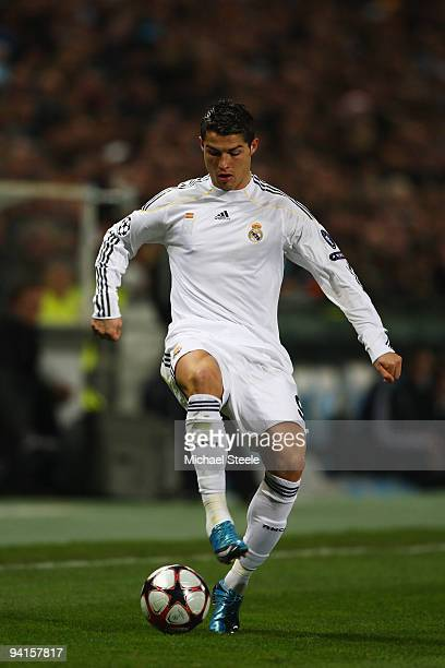 Cristiano Ronaldo of Real during the Marseille v Real Madrid UEFA Champions League Group C match at the Stade Velodrome on December 8 2009 in...
