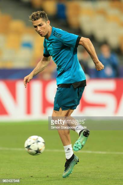 Cristiano Ronaldo of Real in action during a training session ahead of the UEFA Champions League Final between Real Madrid and Liverpool on May 25...