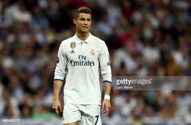 Cristiano Ronaldo of Real is seen during the UEFA Champions League Semi Final first leg match between Real Madrid CF and Club Atletico de Madrid at...
