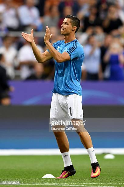 Cristiano Ronaldo of Real Madrid acknowledges the fans prior to the UEFA Champions League Final match between Real Madrid and Club Atletico de Madrid...