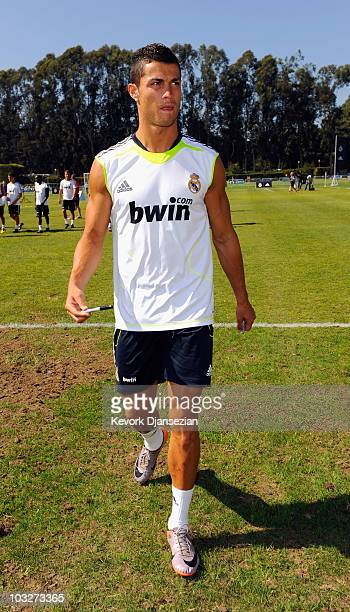 Cristiano Ronaldo of Real Madrid after participating in the Adidas training with local youth soccer players August 5 2010 in the Westwood section of...