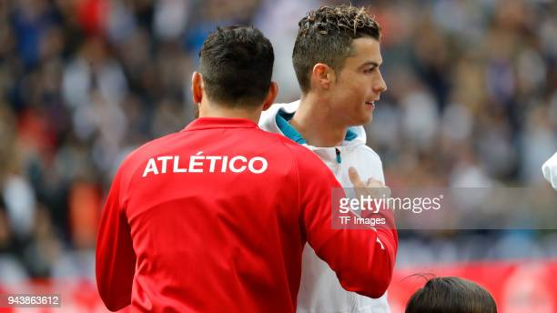 Cristiano Ronaldo of Real Madrid and Diego Costa of Atletico Madrid looks on during the La Liga match between Real Madrid and Atletico Madrid at...