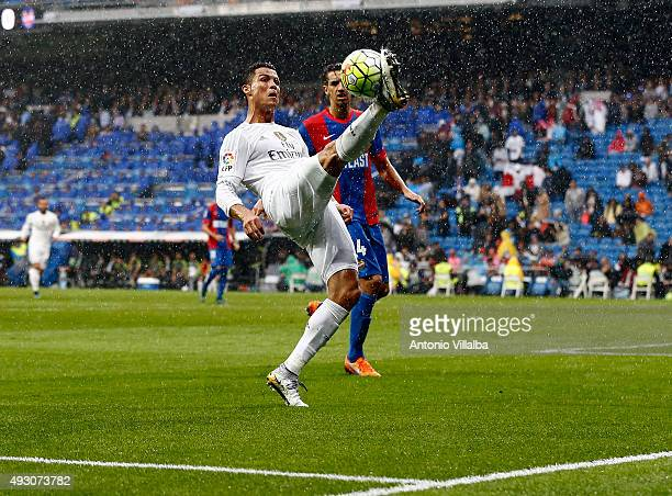 Cristiano Ronaldo of Real Madrid and Feddal os Levante during the La Liga match between Real Madrid CF and Levante UD at Estadio Santiago Bernabeu on...