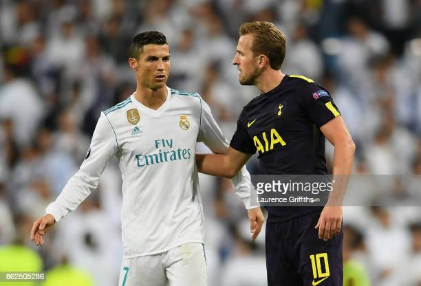 Cristiano Ronaldo of Real Madrid and Harry Kane of Tottenham Hotspur speak after the UEFA Champions League group H match between Real Madrid and...