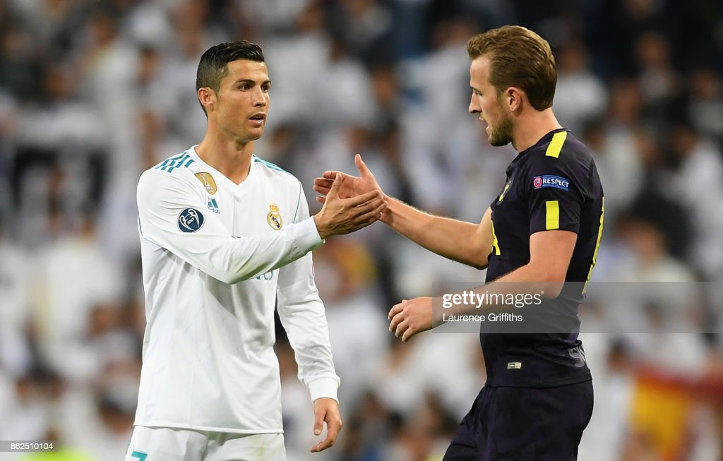 Cristiano Ronaldo of Real Madrid and Harry Kane of Tottenham Hotspur speak after the UEFA Champions League group H match between Real Madrid and Tottenham Hotspur at Estadio Santiago Bernabeu on October 17, 2017 in Madrid, Spain.