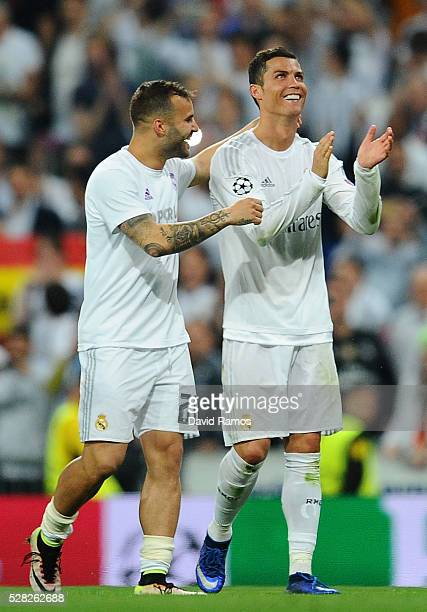 Cristiano Ronaldo of Real Madrid and Jese of Real Madrid celebrate victory during the UEFA Champions League semi final second leg match between Real...