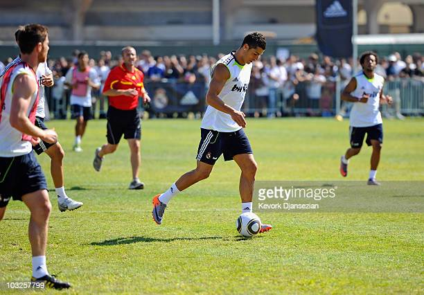 Cristiano Ronaldo of Real Madrid and local youth soccer players participate in the Adidas training on August 5 2010 in Westwood section of Los...