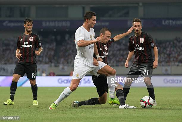 Cristiano Ronaldo of Real Madrid and Luca Antonelli of AC Milan compete for the ball during the International Champions Cup football match between AC...