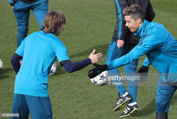 Cristiano Ronaldo of Real Madrid and Luka Modric of Real Madrid looks on during a training session at Valdebebas training ground ahead their Round of...