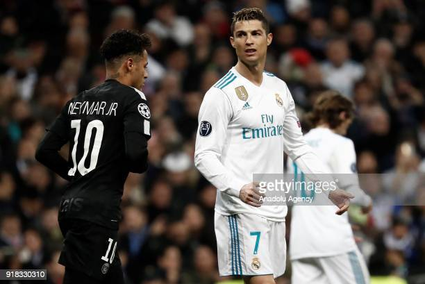 Cristiano Ronaldo of Real Madrid and Neymar Jr of Paris SaintGermain are seen during the UEFA Champions League Round of 16 football match between...