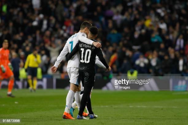Cristiano Ronaldo of Real Madrid and Neymar of Paris looks on during the UEFA Champions League Round of 16 First Leg match between Real Madrid and...