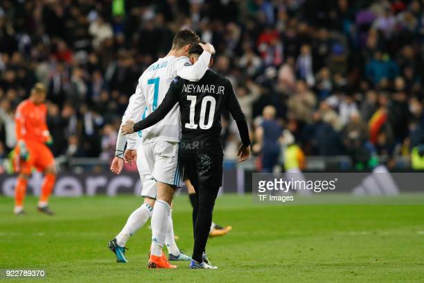 Cristiano Ronaldo of Real Madrid and Neymar of Paris SaintGermain walk during the UEFA Champions League Round of 16 First Leg match between Real...