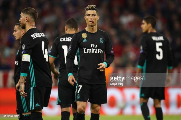 Cristiano Ronaldo of Real Madrid and players of Real Madrid react during the UEFA Champions League Semi Final First Leg match between Bayern Muenchen...