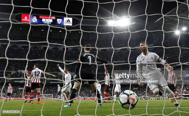 Cristiano Ronaldo of Real Madrid and Sergio Ramos celebrate after scoring their equalising goal during the La Liga match between Real Madrid and...