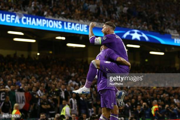 Cristiano Ronaldo of Real Madrid and Sergio Ramos of Real Madrid celebration the UEFA Champions League Final between Juventus and Real Madrid at...