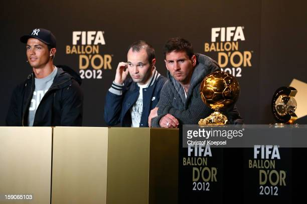 Cristiano Ronaldo of Real Madrid Andres Iniesta of Barcelona and Lionel Messi of Barcelona attend the Press Conference with nominees for World Player...