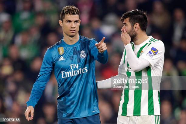 Cristiano Ronaldo of Real Madrid Antonio Barragan of Real Betis during the La Liga Santander match between Real Betis Sevilla v Real Madrid at the...