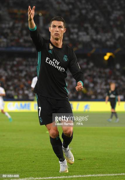 Cristiano Ronaldo of Real Madrid appeals during the FIFA Club World Cup UAE 2017 semifinal match between Al Jazira and Real Madrid on December 13...