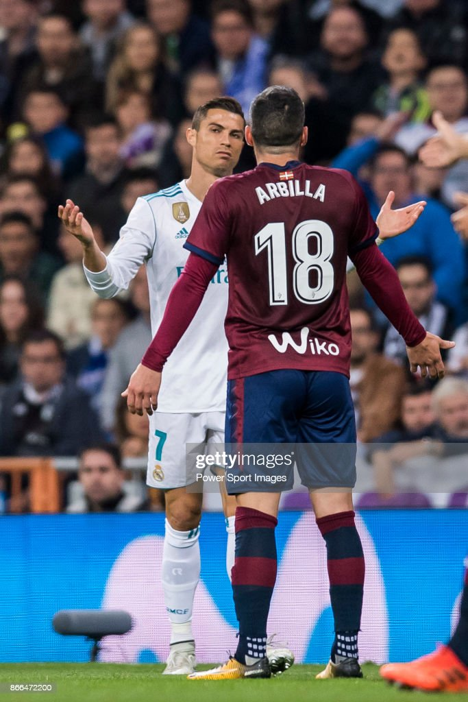 Cristiano Ronaldo of Real Madrid argues with Anaitz Arbilla