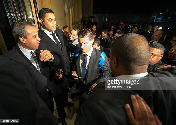 Cristiano Ronaldo of Real Madrid arrive at the players hotel on December 14 2014 in Rabat Morocco