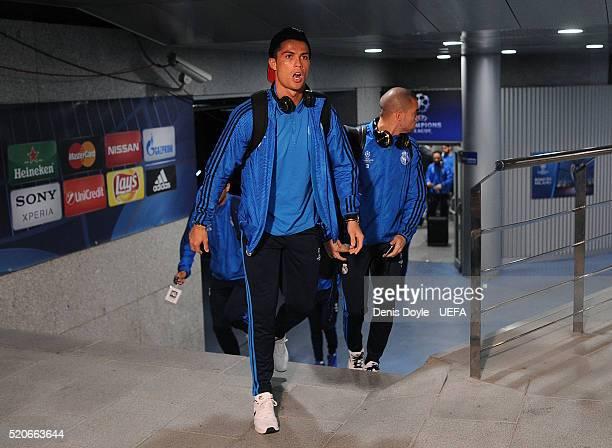 Cristiano Ronaldo of Real Madrid arrives at the Santiago Bernabeu stadium ahead of the UEFA Champions League Quarter Final Second Leg match between...