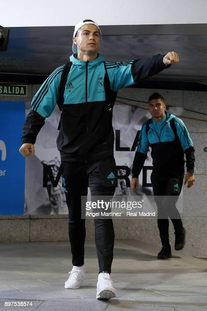 Cristiano Ronaldo of Real Madrid arrives prior to the La Liga match between Real Madrid and Barcelona at Estadio Santiago Bernabeu on December 23...