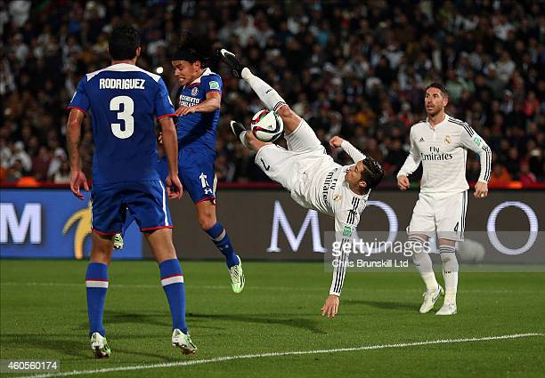 Cristiano Ronaldo of Real Madrid attempts an overhead kick during the FIFA Club World Cup Semi Final match between Cruz Azul and Real Madrid CF at...