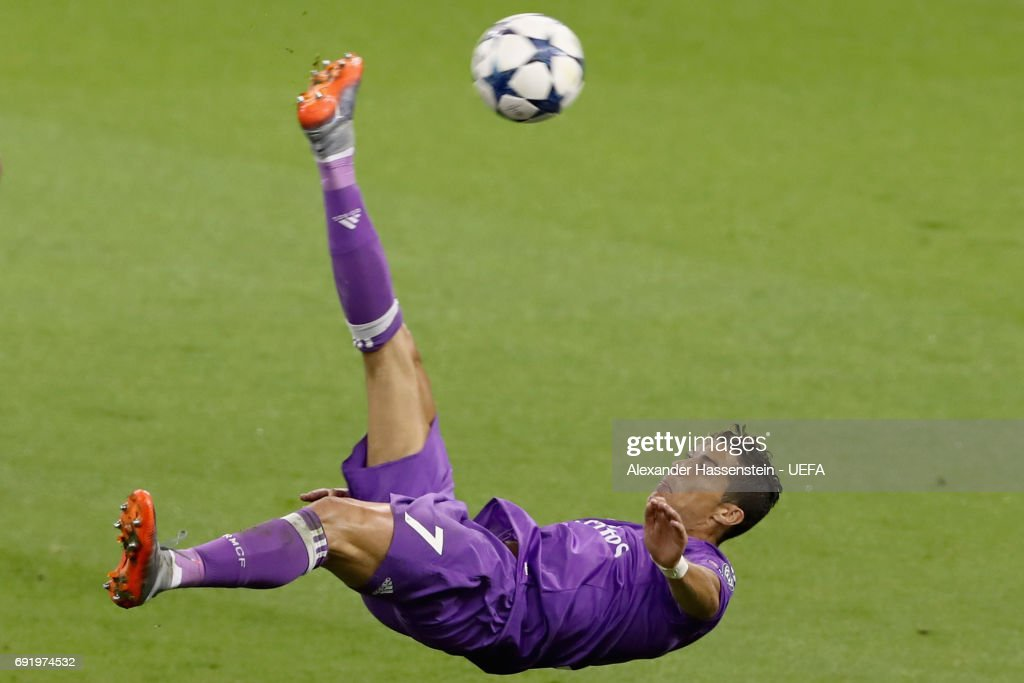 Cristiano Ronaldo of Real Madrid attempts an overhead kick during the UEFA Champions League Final between Juventus and Real Madrid at National Stadium of Wales on June 3, 2017 in Cardiff, Wales