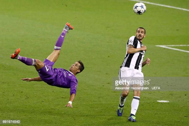 Cristiano Ronaldo of Real Madrid attempts an overhead kick during the UEFA Champions League Final between Juventus and Real Madrid at National...