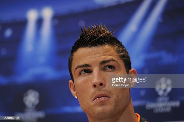 Cristiano Ronaldo of Real Madrid attends a press conference ahead of their UEFA Champions League Group B match against Juventus at Valdebebas...