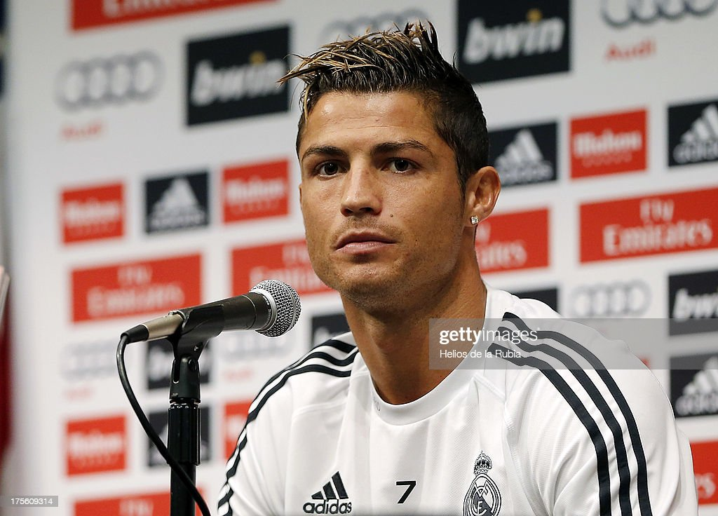 Real madrid training and cristiano ronaldo press conference cristiano ronaldo of real madrid attends a press conference at ucla campus on august 4 voltagebd Gallery