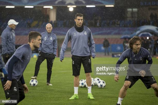 Cristiano Ronaldo of Real Madrid attends a training session ahead of the UEFA Champions League football match between Napoli and Real Madrid at the...