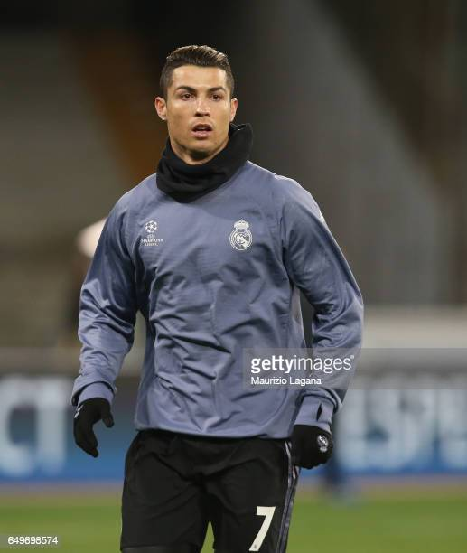 Cristiano Ronaldo of Real Madrid before the UEFA Champions League Round of 16 second leg match between SSC Napoli and Real Madrid CF at Stadio San...