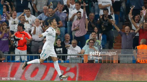 Cristiano Ronaldo of Real Madrid celebrate a goal during the UEFA Champions League group H match between Real Madrid and APOEL Nikosia at Estadio...
