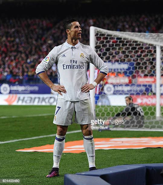 Cristiano Ronaldo of Real Madrid celebrate after scoring Real's 3rd goal during the La Liga match between Club Atletico de Madrid and Real Madrid CF...