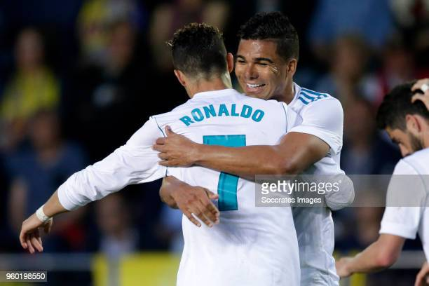 Cristiano Ronaldo of Real Madrid celebrates 02 with Casemiro of Real Madrid during the La Liga Santander match between Villarreal v Real Madrid at...