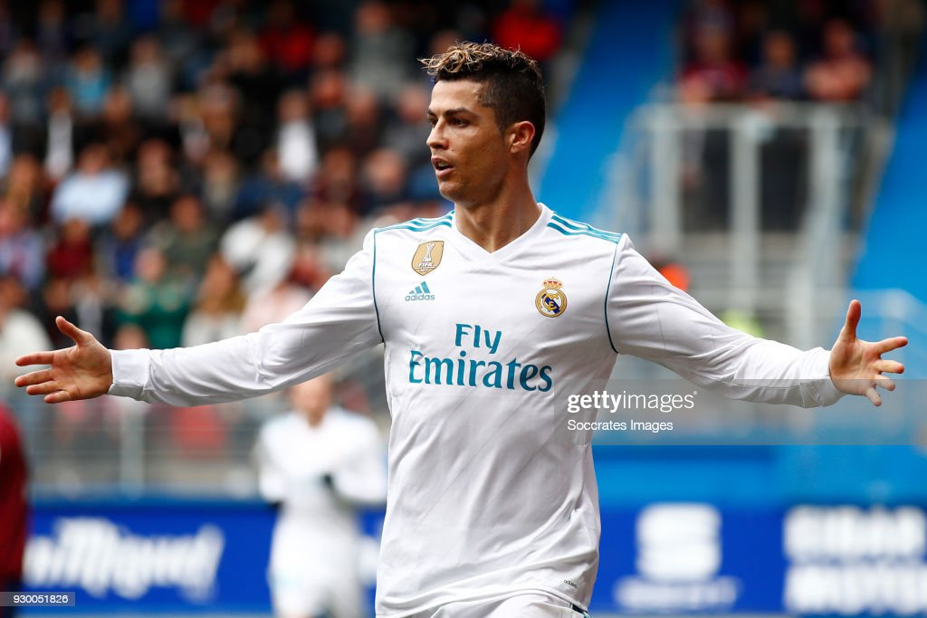 Cristiano Ronaldo of Real Madrid celebrates 1-2 during the La Liga Santander match between Eibar v Real Madrid at the Estadio Municipal de Ipurua on March 10, 2018 in Eibar Spain