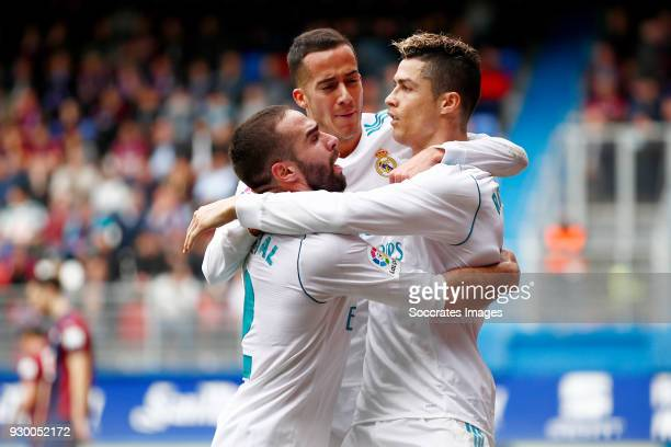 Cristiano Ronaldo of Real Madrid celebrates 12 with Daniel Carvajal of Real Madrid Lucas Vazquez of Real Madrid during the La Liga Santander match...