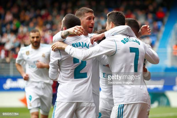 Cristiano Ronaldo of Real Madrid celebrates 12 with Daniel Carvajal of Real Madrid Sergio Ramos of Real Madrid Lucas Vazquez of Real Madrid during...