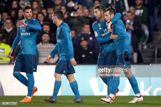 Cristiano Ronaldo of Real Madrid celebrates 24 with Theo Hernandez of Real Madrid Marco Asensio of Real Madrid Gareth Bale of Real Madrid during the...