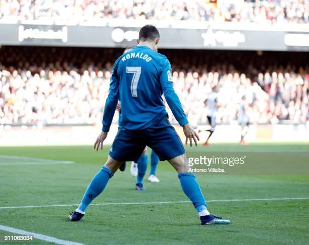 Cristiano Ronaldo of Real Madrid celebrates a goal during the La Liga match between Valencia and Real Madrid at Estadio Mestalla on January 27 2018...