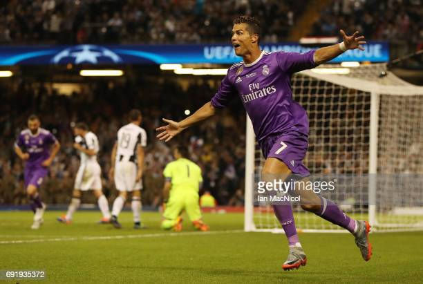 Cristiano Ronaldo of Real Madrid celebrates after he scores during the UEFA Champions League Final between Juventus and Real Madrid at National...